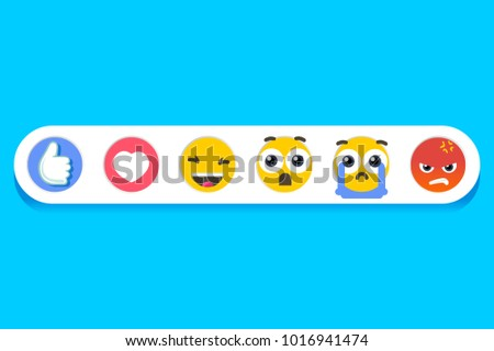 Emoticons for social application. Cheerful internet media eps characters. illustration.