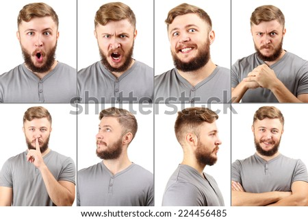 Emotion concept. Handsome man with beard collage #224456485