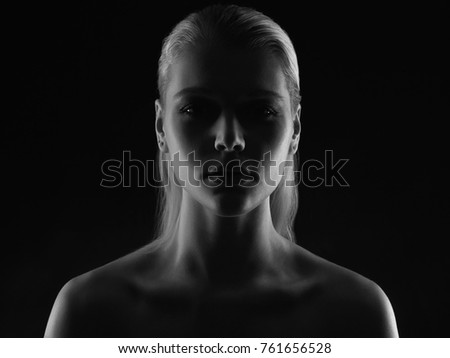 emotion female face. black and white portrait of Young woman, silhouette of beautiful girl  #761656528