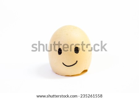 Emotion on egg shield in white background.