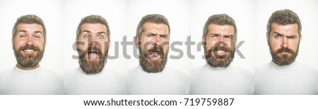 emotion set of bearded man collage with happy, surprised, scared, serious and sad face isolated on white background