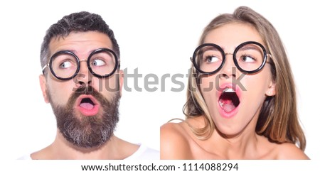 Emotion set of pretty girl and bearded man. Girl in glasses. Bearded man in glasses. Face expression. Collage of emotions. Different emotions. Feeling and emotions. Emoji set. #1114088294