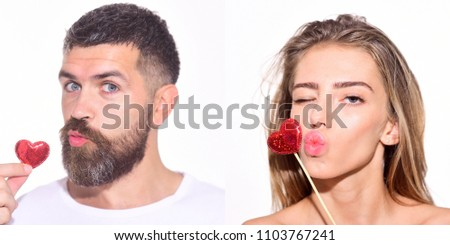 Emotion set of pretty girl and bearded man. Woman and bearded man send a kiss with hearts. Collage of emotions. Different emotions. Feeling and emotions. Emoji set. Face expression. #1103767241