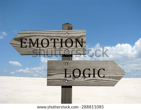 Emotion versus logic- opposite direction sign. Blue sky background.