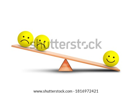 Emotional and Customer Feedback Concept : Smiles emotional icon symbol outweigh more than sad emotional icon symbol on wooden balance scales with white background. 3d illustration Stock photo ©