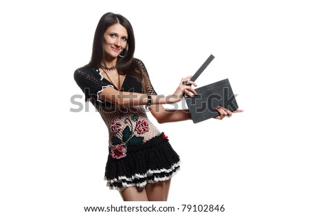 emotional beautiful girl with a photo studio equipment