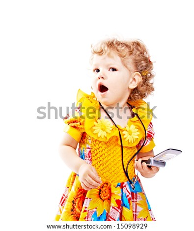emotional child with mobile telephone on white background