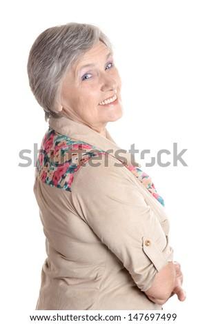 emotional elder woman on a white background