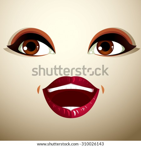 Emotional expression on the face of cute girl. Beautiful happy amazed lady, shock and surprise.