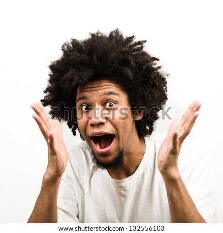 Emotional facial expression of man - surprised