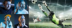 Emotional friends or fans watching football, soccer match on TV, look excited. Fans support, championship, competition, sport, entertainment concept. Collage of neon portraits and sportsman in action.