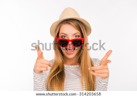 emotional funny girl in a hat with glasses - Shutterstock ID 314203658