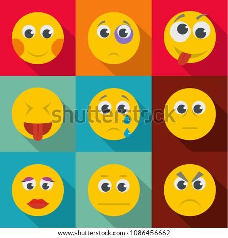 Emotional instability icons set. flat set of 9 emotional instability icons for web isolated on white background