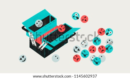 Emotional intelligence concept. IN. Emotional toolbox. Colorful conceptual illustration shows toolbox with emoticons.