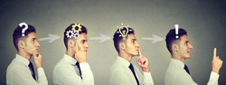 Emotional intelligence. Side view sequence of a young business man thinking, finding solution to a problem with gear mechanism, question, exclamation, light bulb symbols.