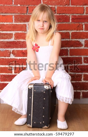 Emotional little girl. Background for the travel postcard