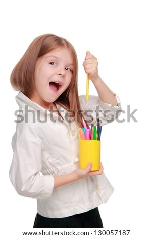 Emotional little girl/Young girl smiling happily on Art theme - stock photo