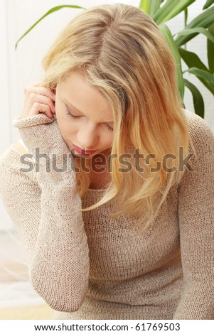 stock photo : Emotional portrait of abused, beautiful, teen ,caucasian ...