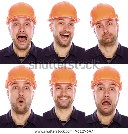 emotional portrait of the builder on a white background