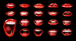 Emotional sexy bright red lips of the female mouth. The passion of a female open mouth is seductive with lipstick. The image of the magazine lips of a girl on a black image. Red with open mouth.