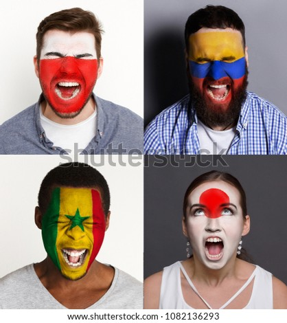 Emotional soccer fans with painted flags of Poland, Senegal, Columbia and Japan on faces. Rooters of football worldcup competition between rival countries of group H. #1082136293