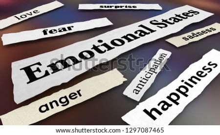 Emotional States Joy Anger Fear Newspaper Headlines 3d Illustration