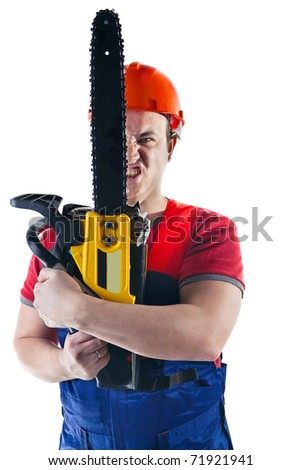 Emotional worker with the chainsaw. Isolated on white background.