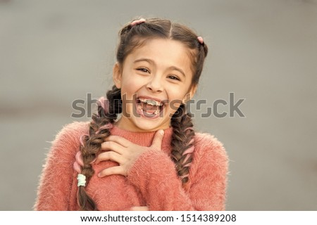Emotions concept. Almost died laughing. Humor and react funny story. Childhood and happiness concept. Kid with cheerful laughing face. Sincere emotional child laughing. Girl laugh emotional face. Сток-фото ©