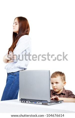 Emotions during using the laptop. A boy and a young woman in conflict.
