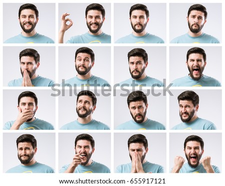 Emotions faces set of handsome bearded guy #655917121