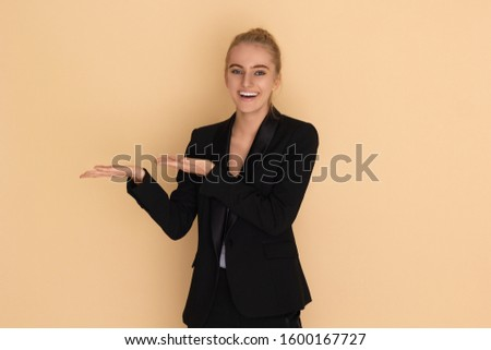 emotions. girl shows smiles and shows hands