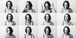 Emotions set collage. Young emotion girl, woman. Anger, happiness, surprise, positive, dissatisfaction, mercy, kiss