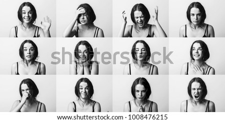 Emotions set collage. Young emotion girl, woman. Anger, happiness, surprise, positive, dissatisfaction, mercy, kiss #1008476215