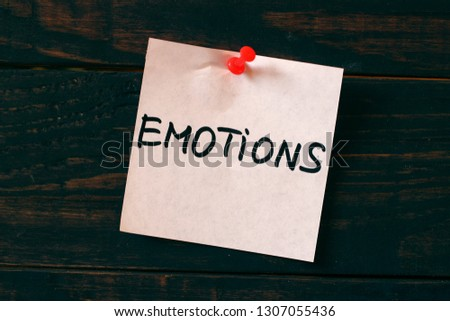 Emotions word on the sticker #1307055436