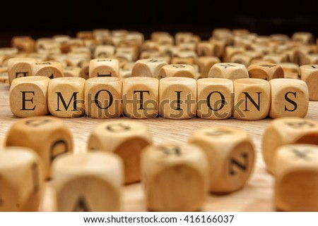 EMOTIONS word written on wood block #416166037