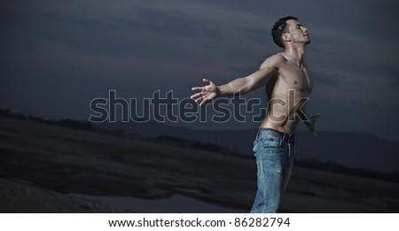 Emotive portrait of an handsome man
