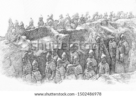 """Emperor buried in the pits next to the Qin Shi Huang's of China. The Terracotta Army or the """"Terra Cotta Warriors and Horses"""" 2,000 years. portrait on 1 Lunar Dollars 2017 Banknote. Reserve Australia."""