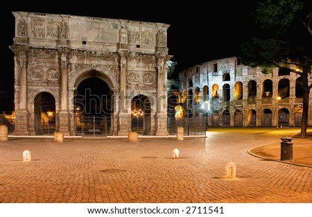 Emperor Constantine Arch and coliseum by night