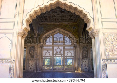 Emperor's private room in Naulakha Pavilion with handcrafted marble mesh window in Lahore Fort, Pakistan