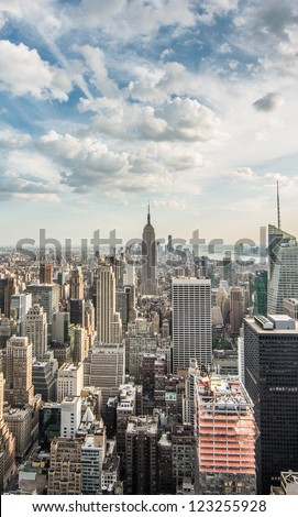 Empire State Building and Skyscrapers in Skyline of Manhattan New York City - Beautiful Cityscape of NYC in USA
