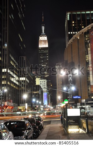 Empire State Building at night, photo taken near Madison Square Garden in New York, USA.