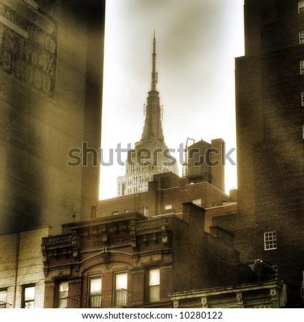 Empire state building, New York City,Manhattan,United States of America - sepia