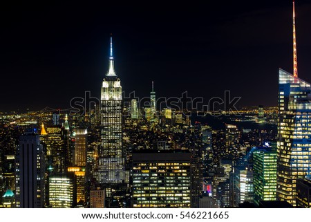 Empire state night scene, New York, USA stock photo