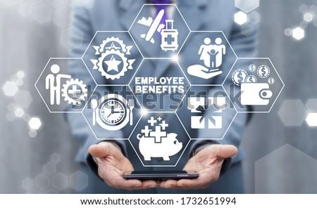 Employee Benefits Career Concept. Business Bonus Work Perks. Photo stock ©