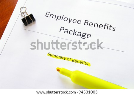 employee benefits document with highlighed text