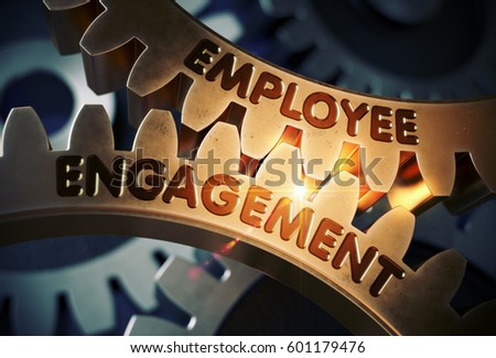 Employee Engagement Concept. Golden Gears. 3D Illustration.