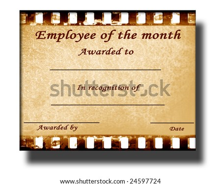 employee of the month certificate with some stains