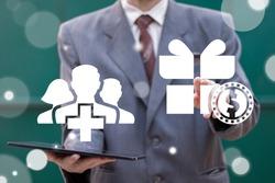 Employee Perks Business Motivation Concept. Bonuses Benefits Career Security Technology.