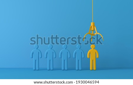 Employee recruitment concept with claw picking a new team member. 3D Rendering Photo stock ©