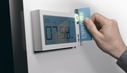Employee swiping personal card in swipe-card system, horizontal image. Concept of punctuality at work. Composite between an image and a 3D background